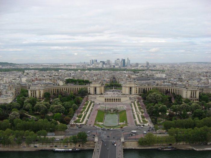 View from the second level deck of the Eiffel Tower.