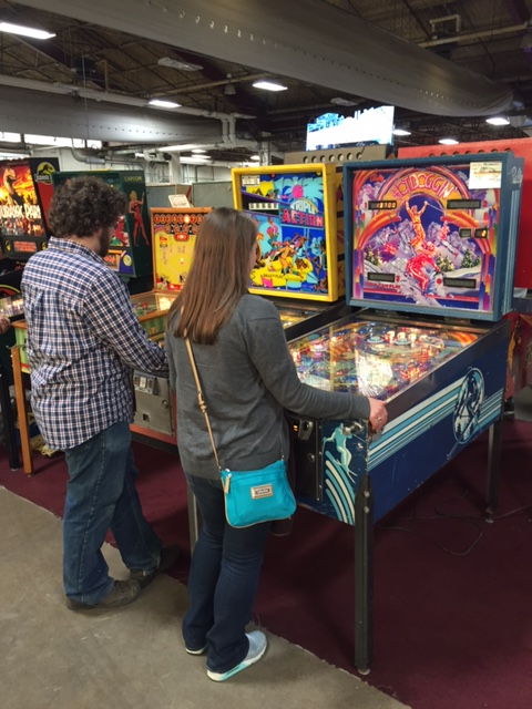 We ran into one of Chris's coworkers, who snapped this shot of us playing together.