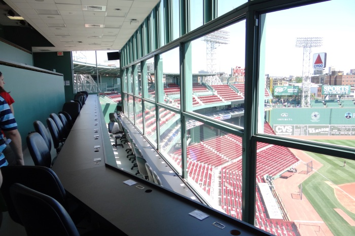 Inside the press box.