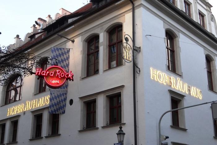 The Hofbrauhaus with its neighbor, the Hard Rock Café.