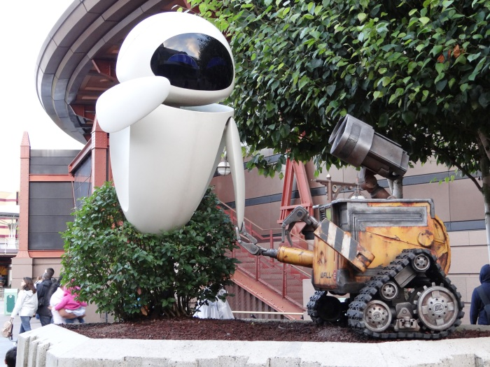 Visiting with Wall-E and EVE in Discoveryland.