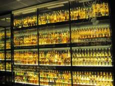 Wall of whisky in Edinburgh, Scotland